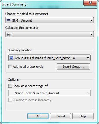 Insert Summary window,